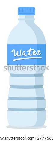 plastic recycled blue water bottle  - stock vector