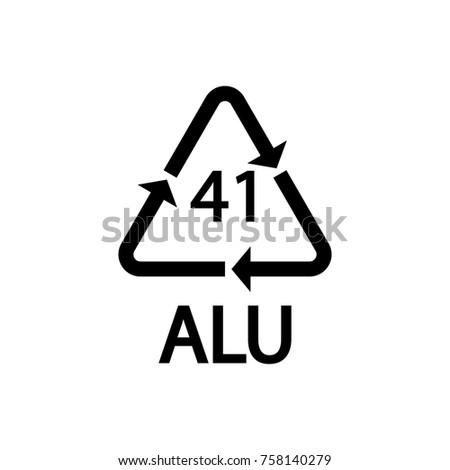 Plastic Recycling Symbol Alu 41 Vector Stock Vector Royalty Free