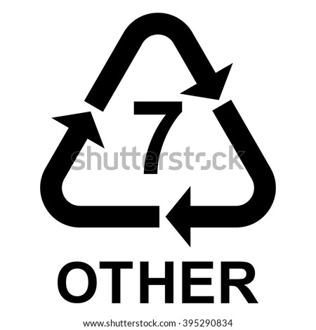 Plastic recycling symbol OTHER 7 , Plastic recycling code OTHER 7 , vector illustration - stock vector
