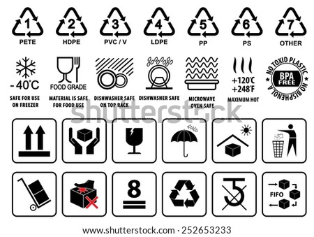 Plastic Recycling Symbols Tableware Sign Packaging Stock Vector