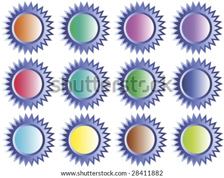plastic star-buttons with different colored center