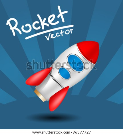 plastic toy red blue rocket, icon - stock vector