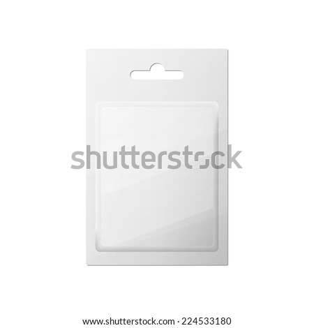 Plastic Transparent Blister With Hang Slot, Product Package. Illustration Isolated On White Background.