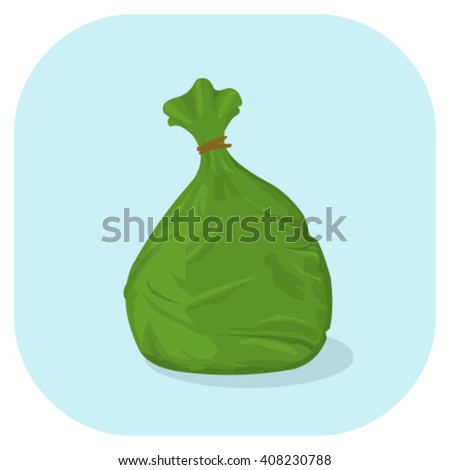 Plastic trash sacks ready for disposal and bin collection. Vector illustration of a green plastic garbage bag icon.  - stock vector