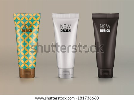 Plastic tube for new design cosmetics creme. Sketch style - stock vector