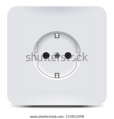 Plastic wall socket detailed vector illustration with rounded corners and shadow.