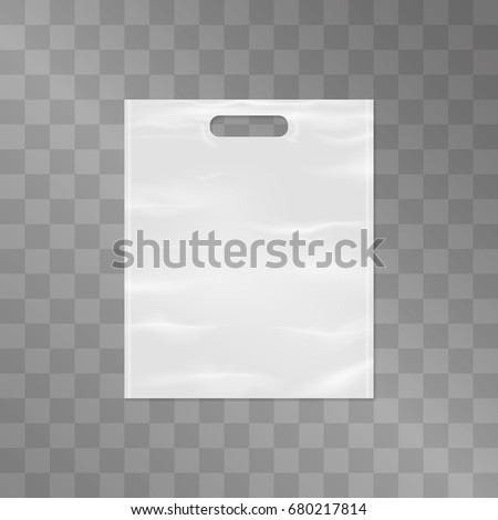 Plastic white bag with realistic crumpled texture, design isolated on transparent background. Typical store item for branding, ads, logo or slogan mock up. Shopping symbol. Recycle issue illustration.