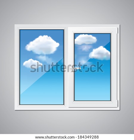 Plastic window and blue sky with clouds behind vector illustration