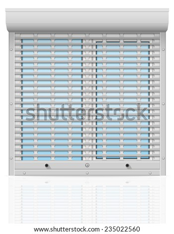 plastic window behind metal perforated rolling shutters vector illustration isolated on white background - stock vector
