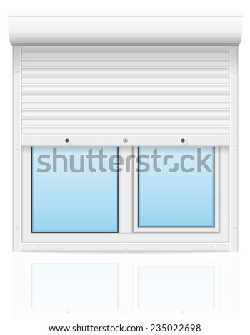 plastic window with rolling shutters vector illustration isolated on white background - stock vector