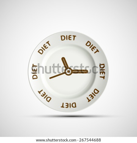 Plate as a clock and the words diet. Vector image. - stock vector