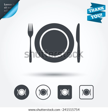 Plate dish with fork and knife. Eat sign icon. Cutlery etiquette rules symbol. Circle and square buttons. Flat design set. Thank you ribbon. Vector - stock vector