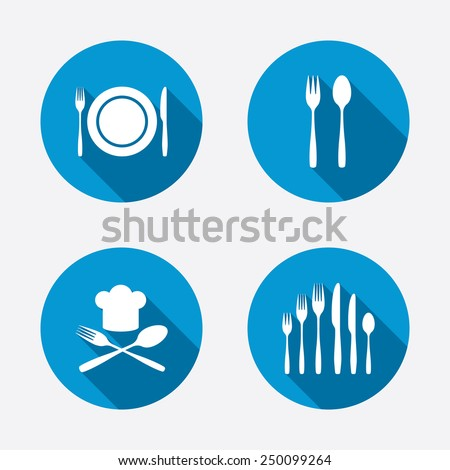 Plate dish with forks and knifes icons. Chief hat sign. Crosswise cutlery symbol. Dessert fork. Circle concept web buttons. Vector - stock vector