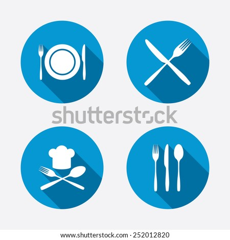 Plate dish with forks and knifes icons. Chief hat sign. Crosswise cutlery symbol. Dining etiquette. Circle concept web buttons. Vector - stock vector