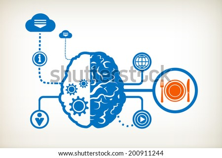 Plate, fork and knife and abstract human brain, the concept of the information movement - stock vector