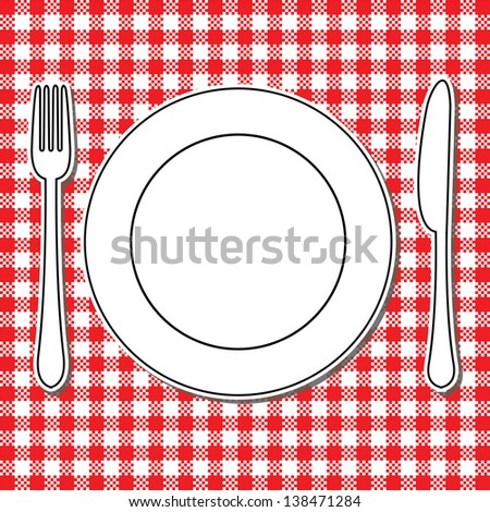 Plate, fork and knife on tablecloth - stock vector