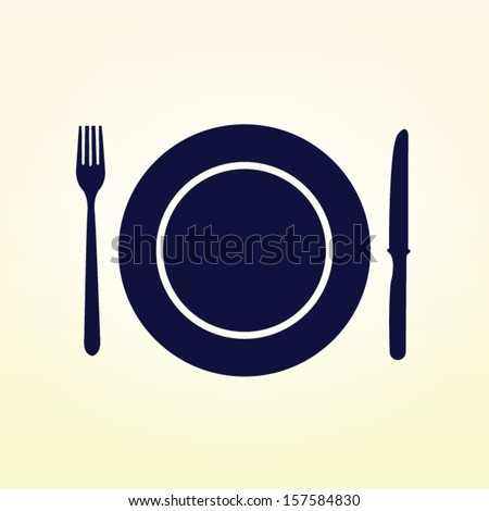 Plate,fork and knife vector illustration - stock vector