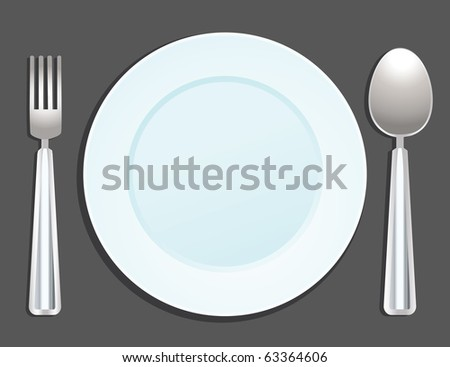 plate, fork and spoon - stock vector