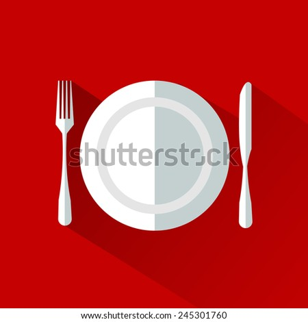 plate fork knife - stock vector