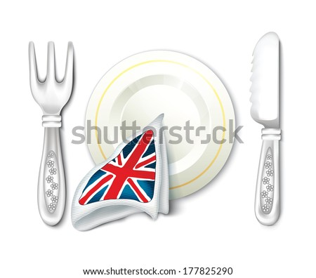 Plate Fork Knife and British Flag Breakfast - stock vector
