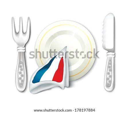 Plate Fork Knife with France Flag - stock vector