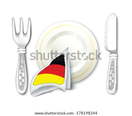 Plate Fork Knife with Germany Flag - stock vector