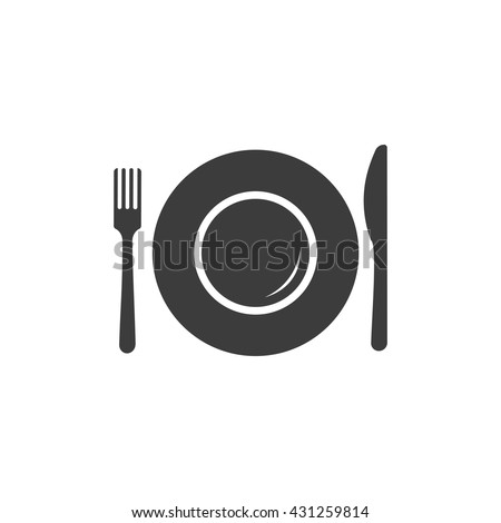 Plate icon. Plate Vector isolated on white background. Flat vector illustration in black. EPS 10 - stock vector