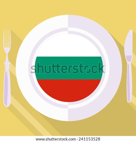 plate in flat style with flag of Bulgaria - stock vector