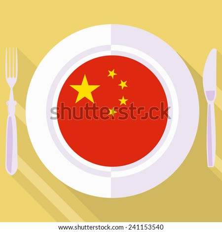 plate in flat style with flag of China - stock vector