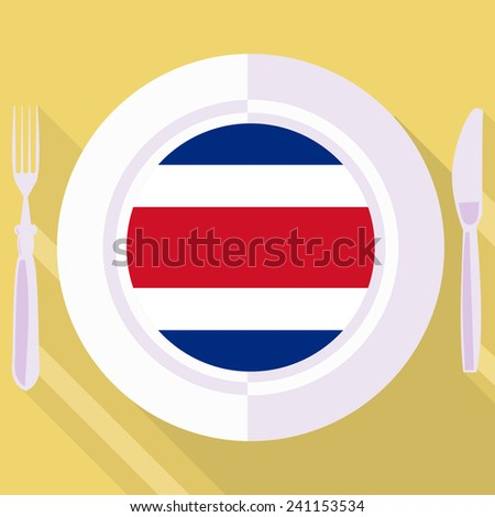 plate in flat style with flag of Costa Rica - stock vector