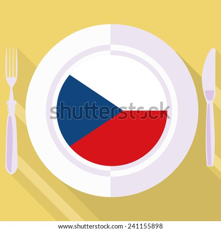 plate in flat style with flag of Czech Republic - stock vector