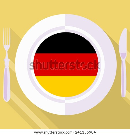 plate in flat style with flag of Germany - stock vector
