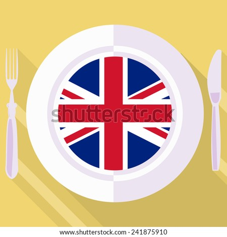 plate in flat style with flag of Great Britain - stock vector
