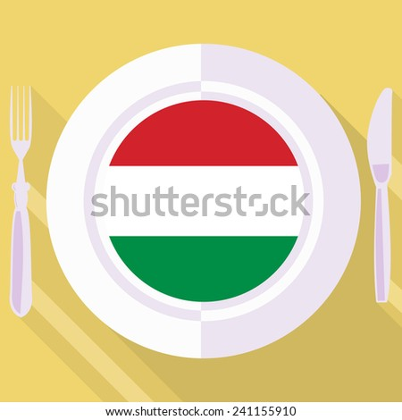plate in flat style with flag of Hungary - stock vector