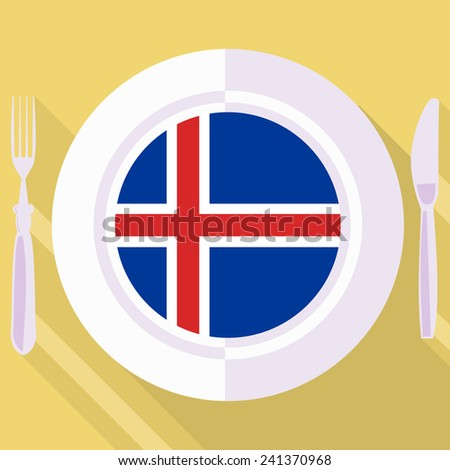 plate in flat style with flag of Iceland - stock vector