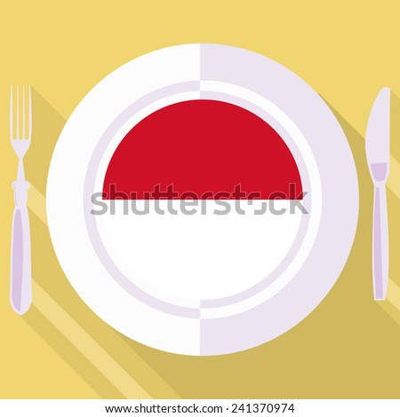 plate in flat style with flag of Indonesia - stock vector