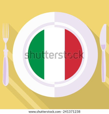 plate in flat style with flag of Italy