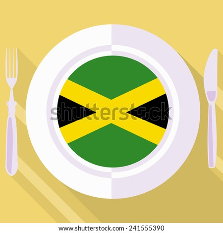 plate in flat style with flag of Jamaica - stock vector
