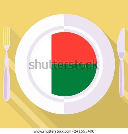 plate in flat style with flag of Madagascar - stock vector