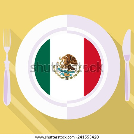 plate in flat style with flag of Mexico