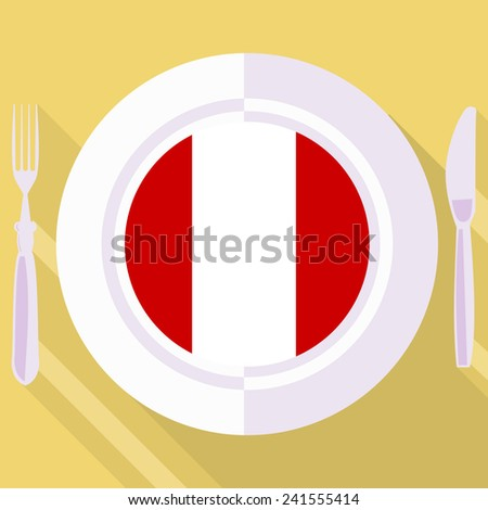 plate in flat style with flag of Peru - stock vector