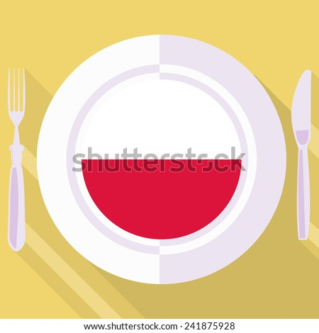 plate in flat style with flag of Poland - stock vector