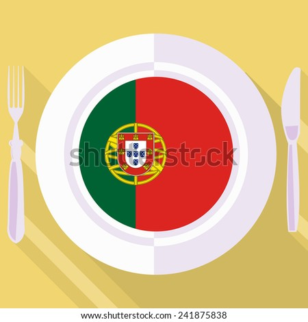 plate in flat style with flag of Portugal