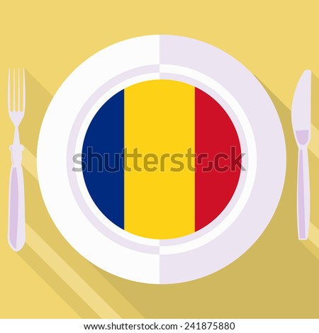 plate in flat style with flag of Romania - stock vector