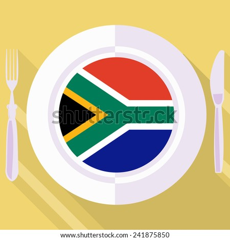 plate in flat style with flag of South Africa - stock vector