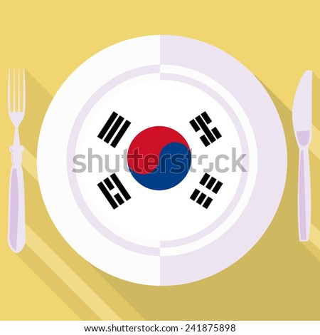 plate in flat style with flag of South Korea