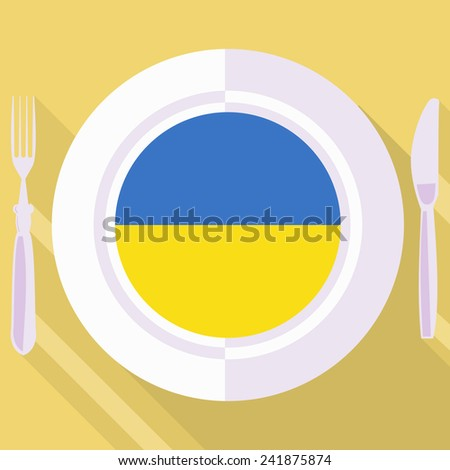 plate in flat style with flag of Ukraine - stock vector