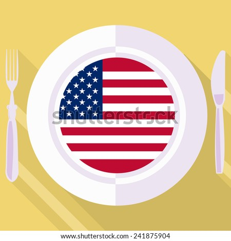 plate in flat style with flag of United States - stock vector