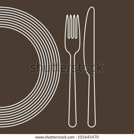Plate, knife and fork - stock vector