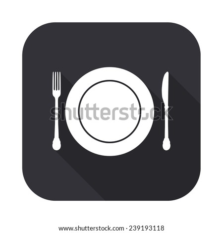 plate knife and fork icon - vector illustration with long shadow isolated on gray - stock vector
